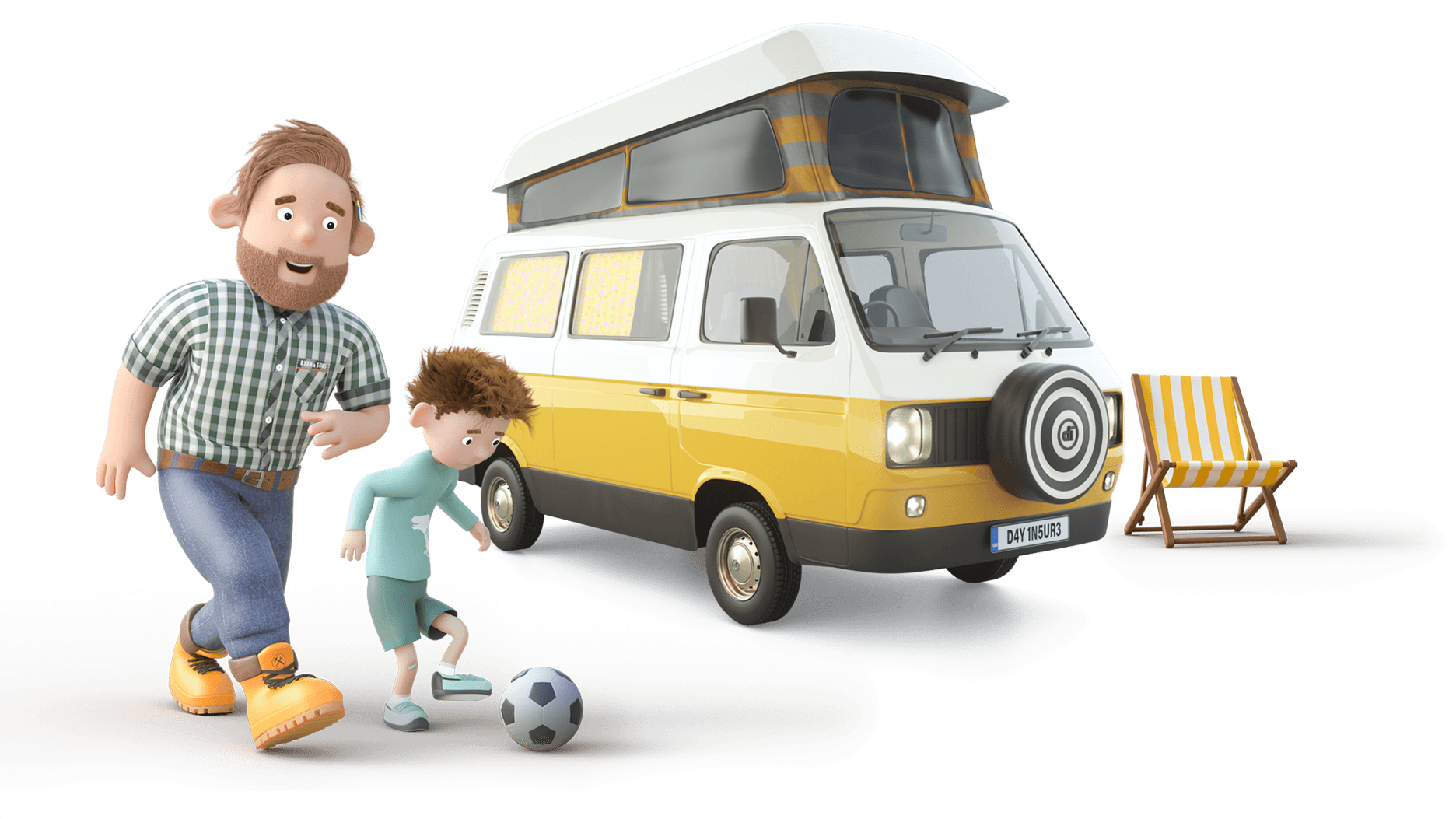 Dayinsure Dad and Son playing in front of Motorhome