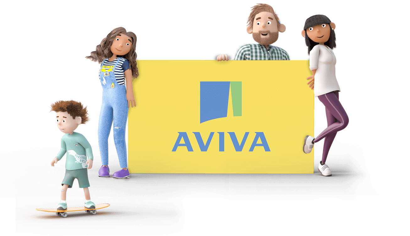 Dayinsure family holding Aviva sign