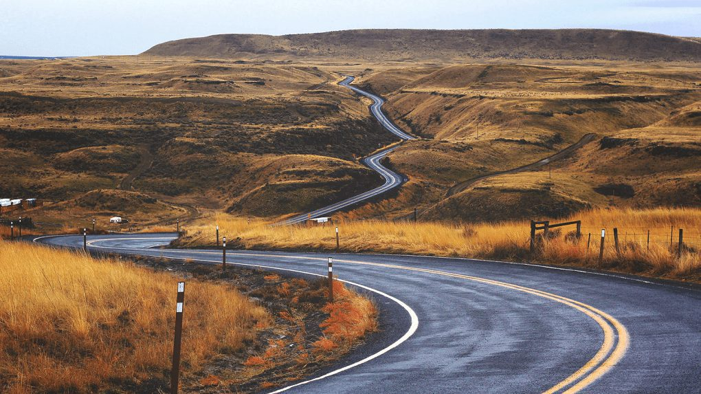 A hill with a winding road