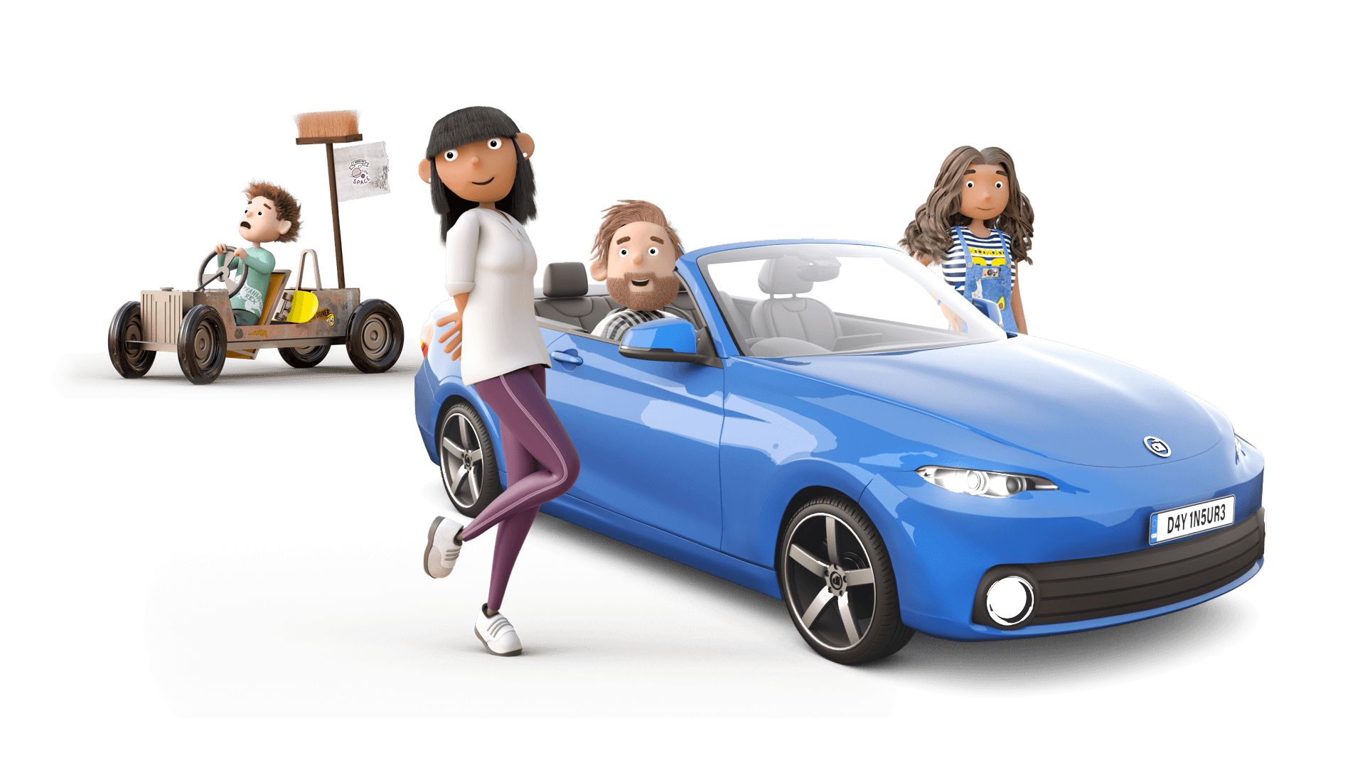 Dayinsure Family with Sports Car