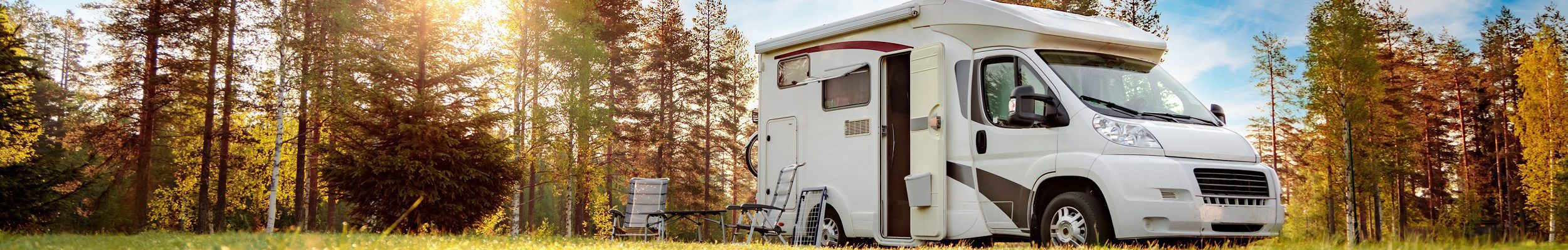 Motorhome parked on grass
